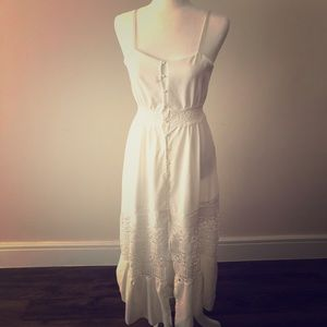 White with Lace Embellishments Thin Strap Dress